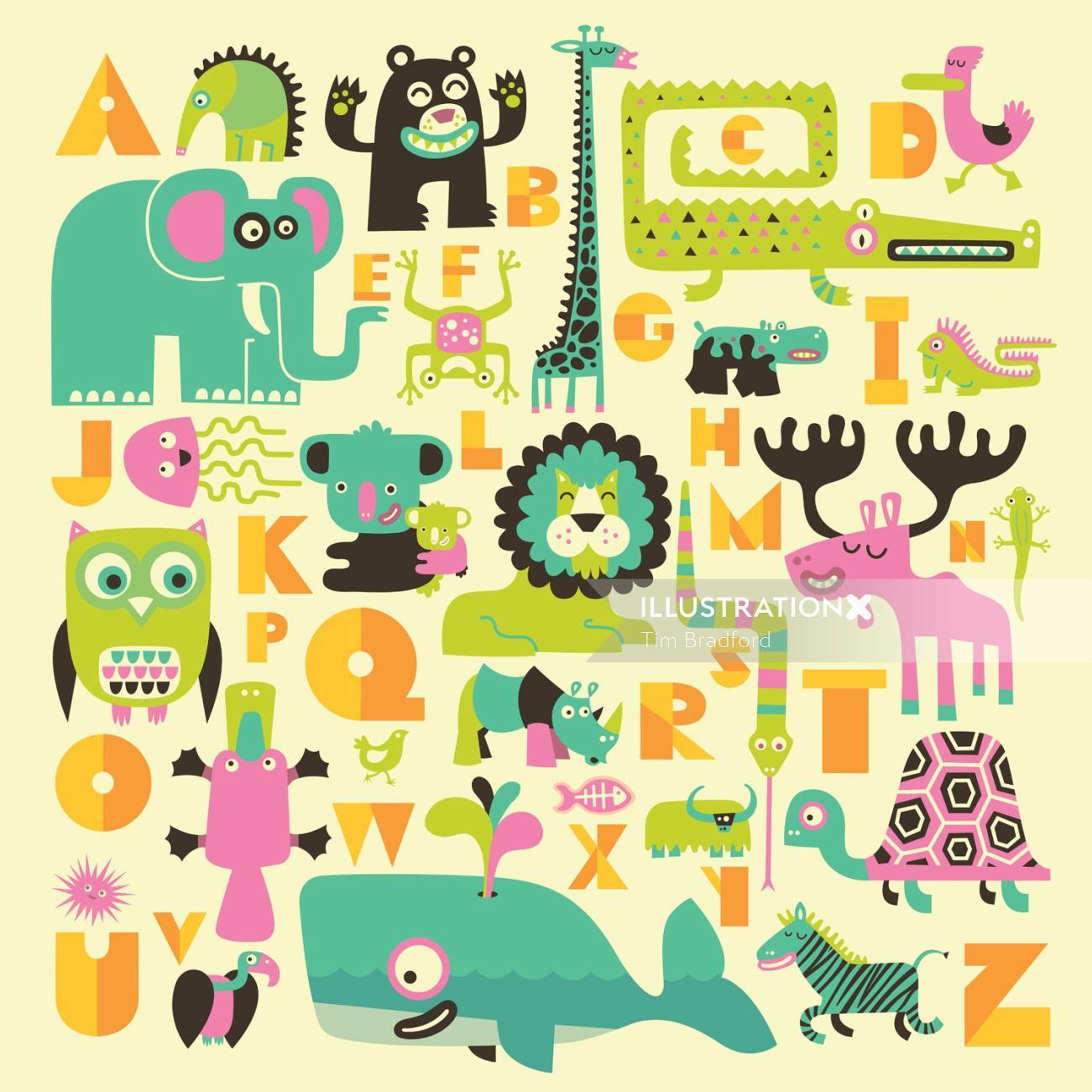 Animal alphabet infographics