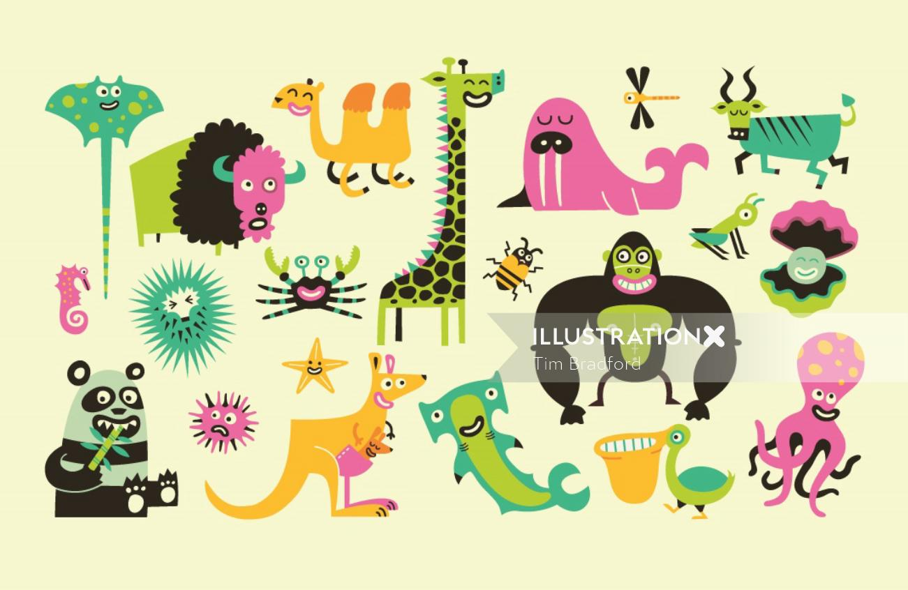 Illustration of different wild animals