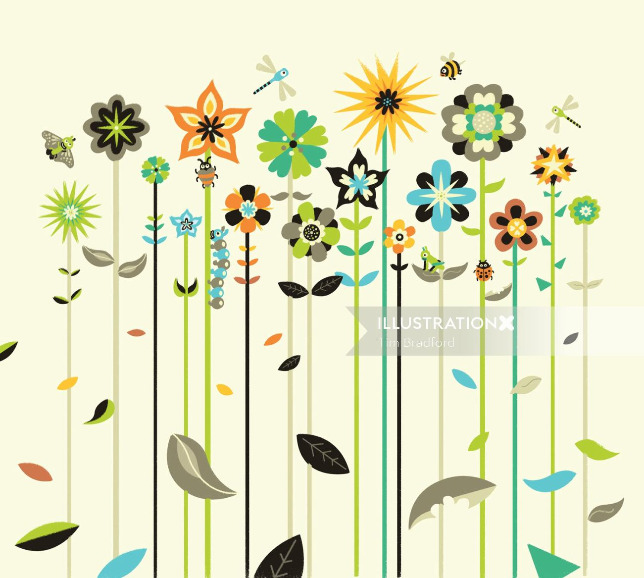 Nature illustration of different flowers