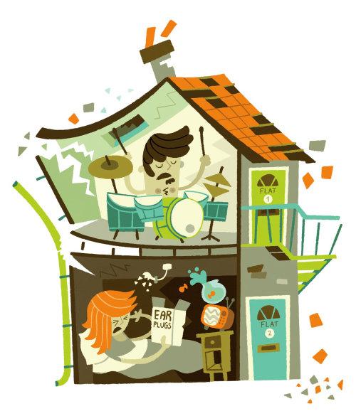 ilustração de música barulhenta de vizinhos