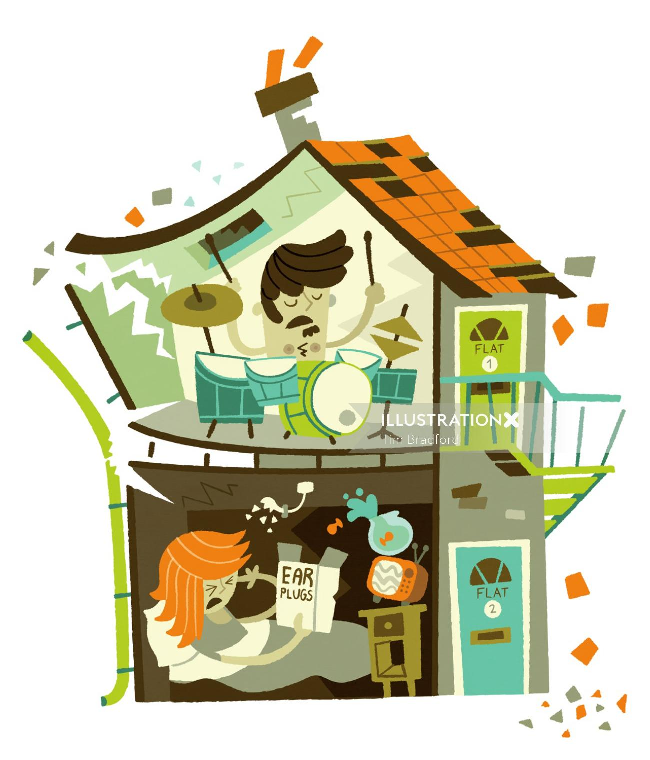 illustration of noisy music from neighbours