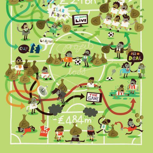 Business map illustration of money