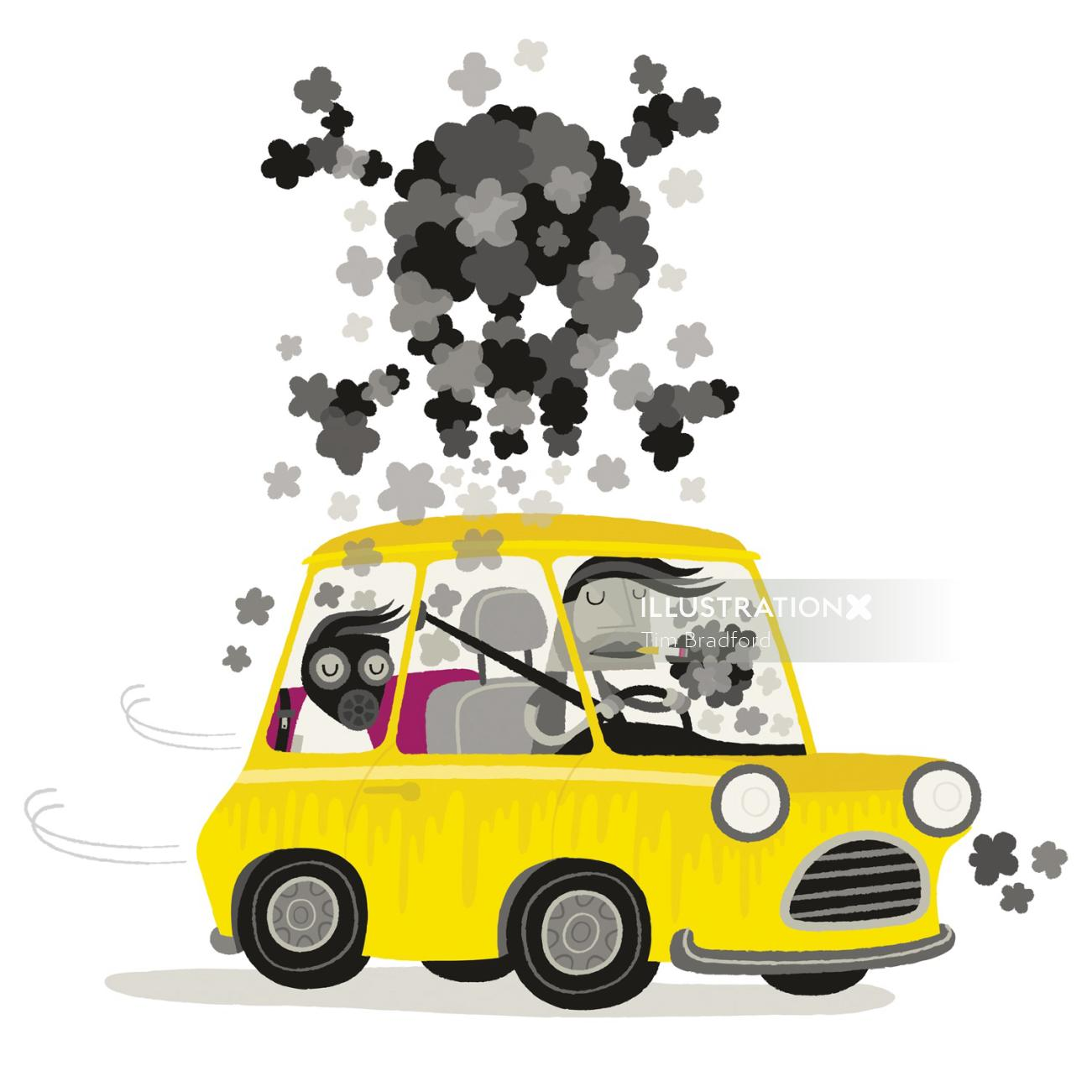 Conceptual illustration of Car with danger sign