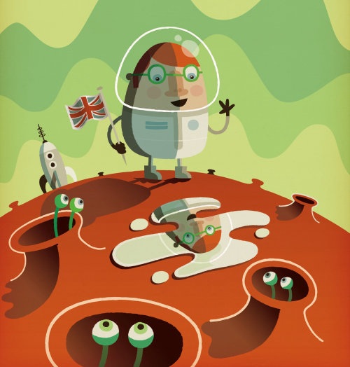 satirical illustration of man on another planet