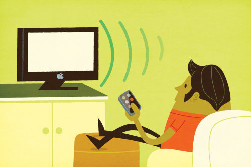 Illustration of character watching tv
