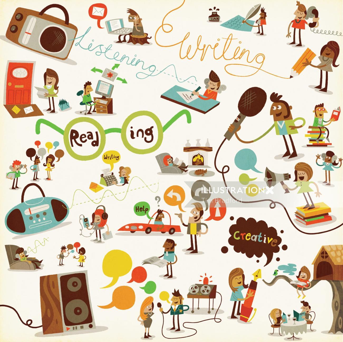 People different activities