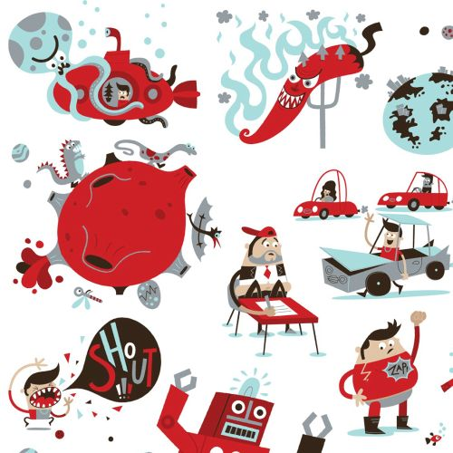 Storyboard illustration of red characters
