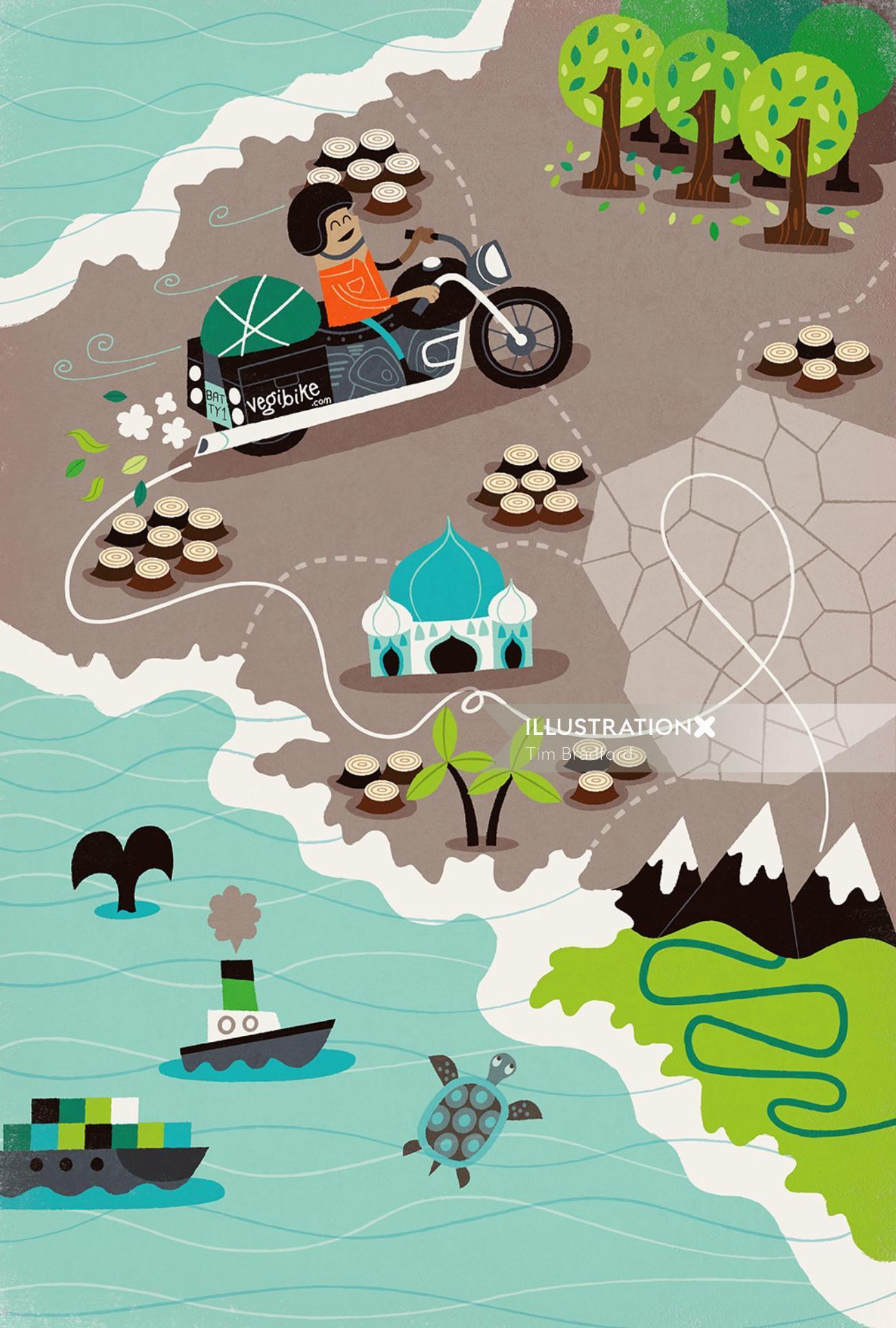 Map illustration of Vegi bike