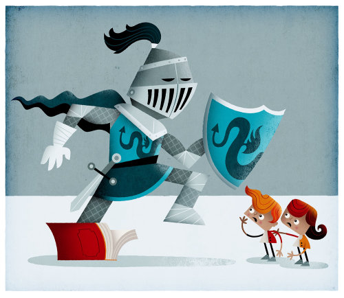 Cartoon & Humor knight and kids