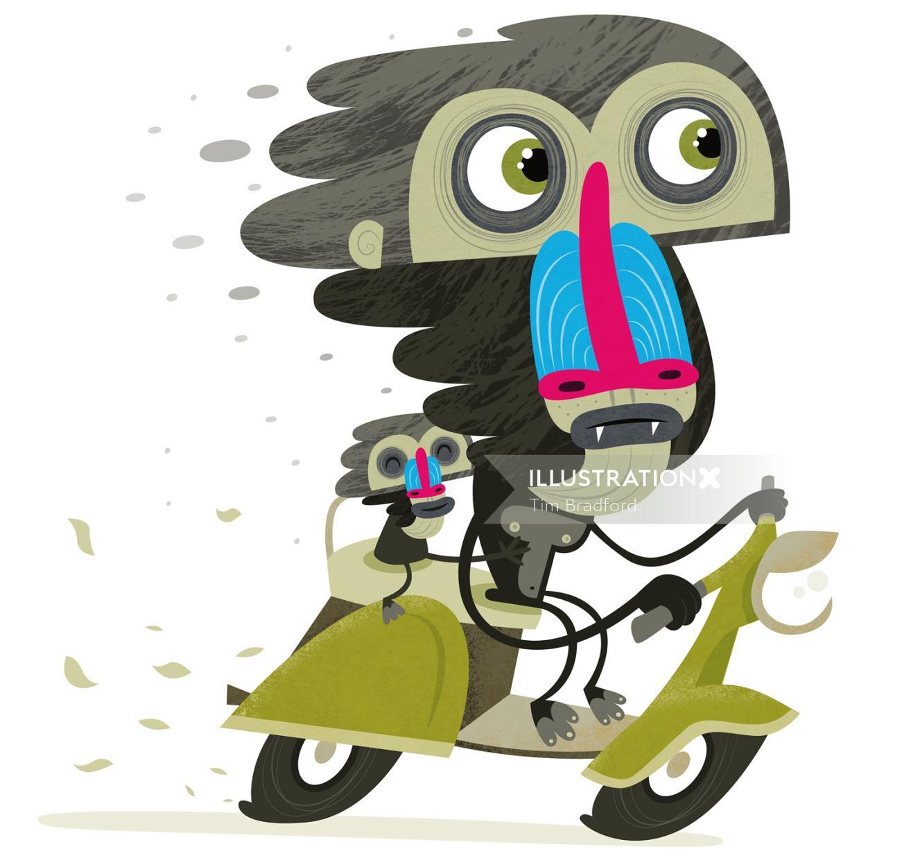 Cartoon & Humor Monkey scooter