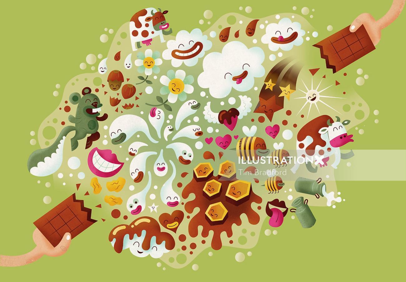 Pop illustration of smiley creatures