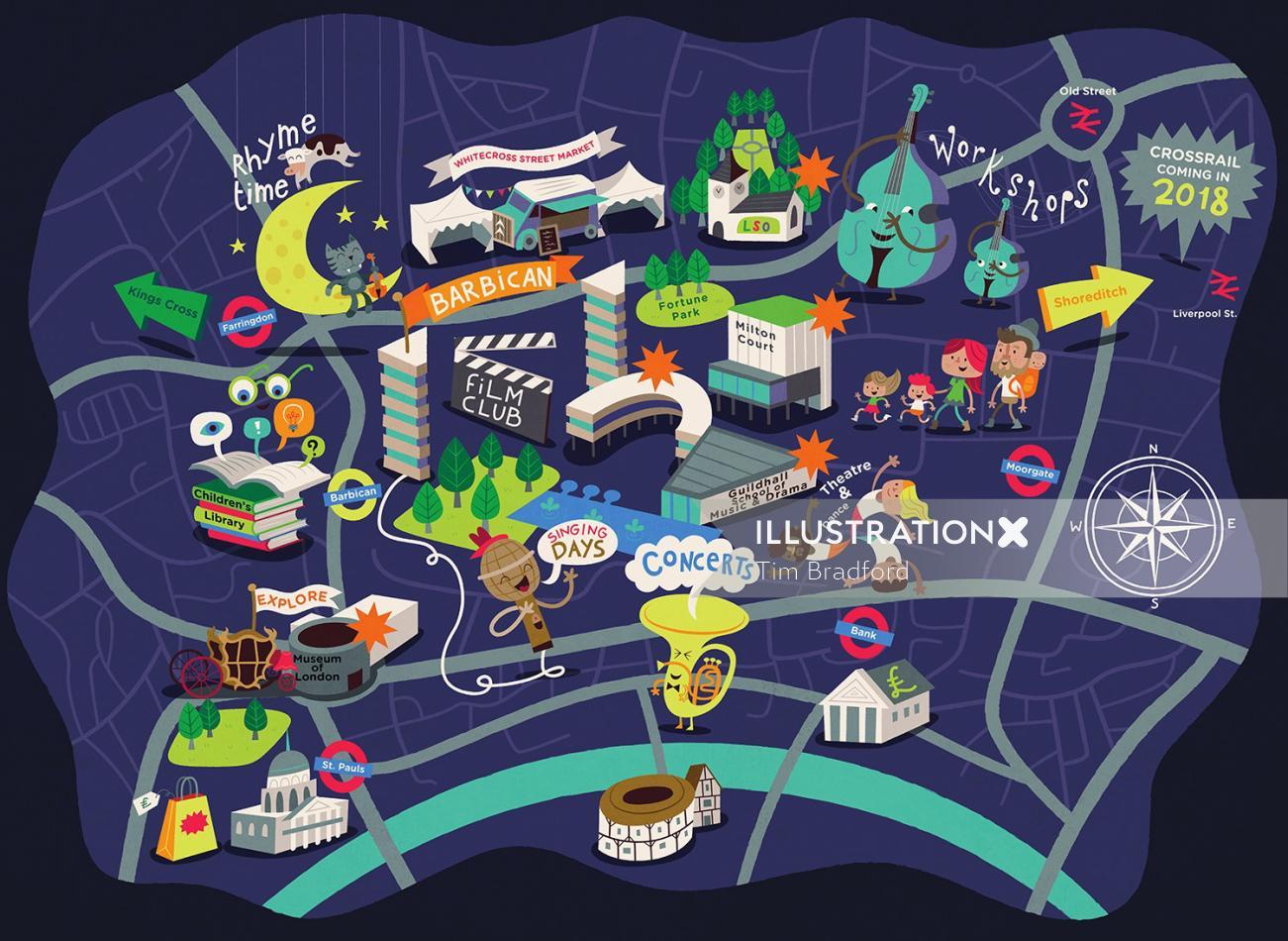 Maps illustration of night city