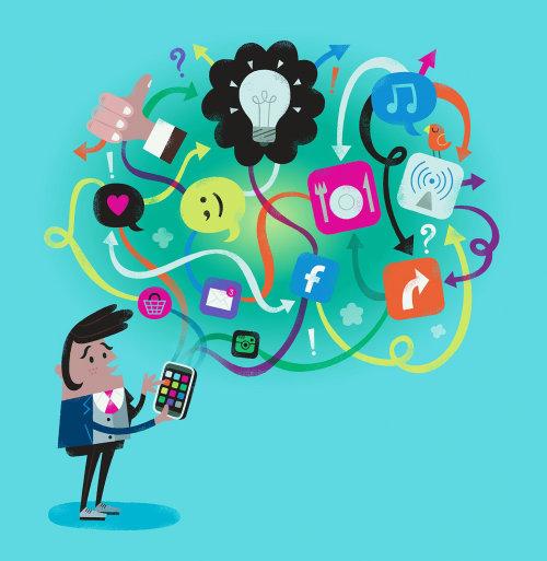 Ilustração digital de um homem com vários aplicativos