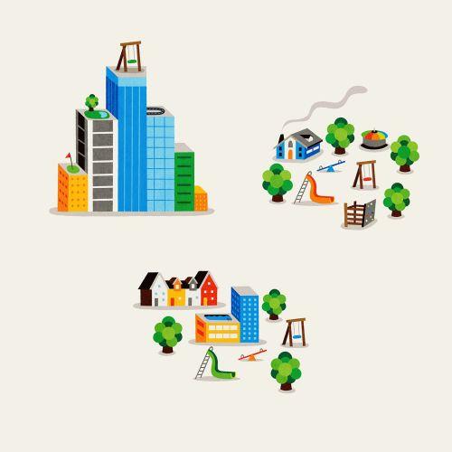 Digital city illustration