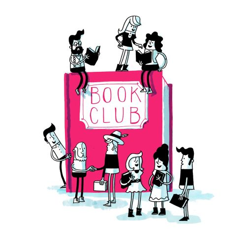 Illustration of characters playing on book
