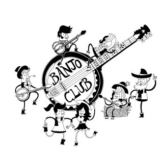 Illustration of characters playing with guitar