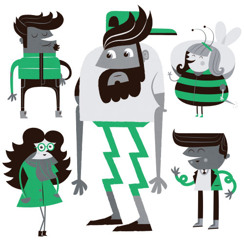 Character drawing of hipster, children and woman