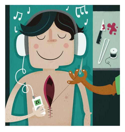 Ilustração médica do homem na mesa cirúrgica