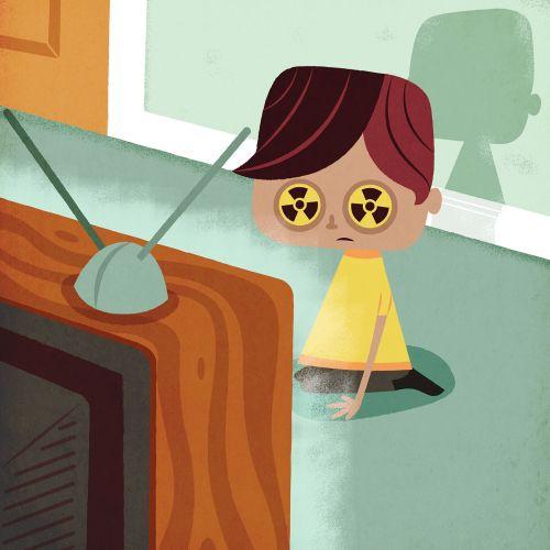 children in fron of Tv radiation