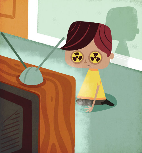 children in fron of Tv radiation