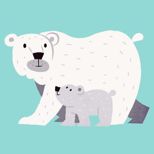 Ilustração de animais de urso e filhote