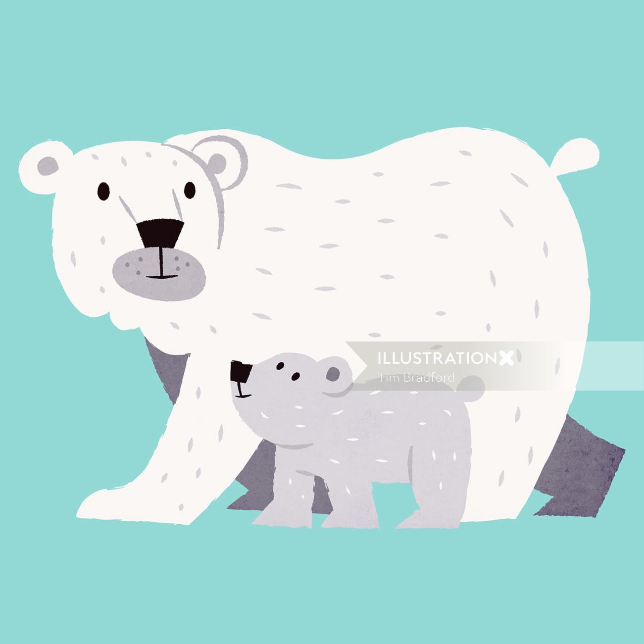 Animals illustration of bear and cub