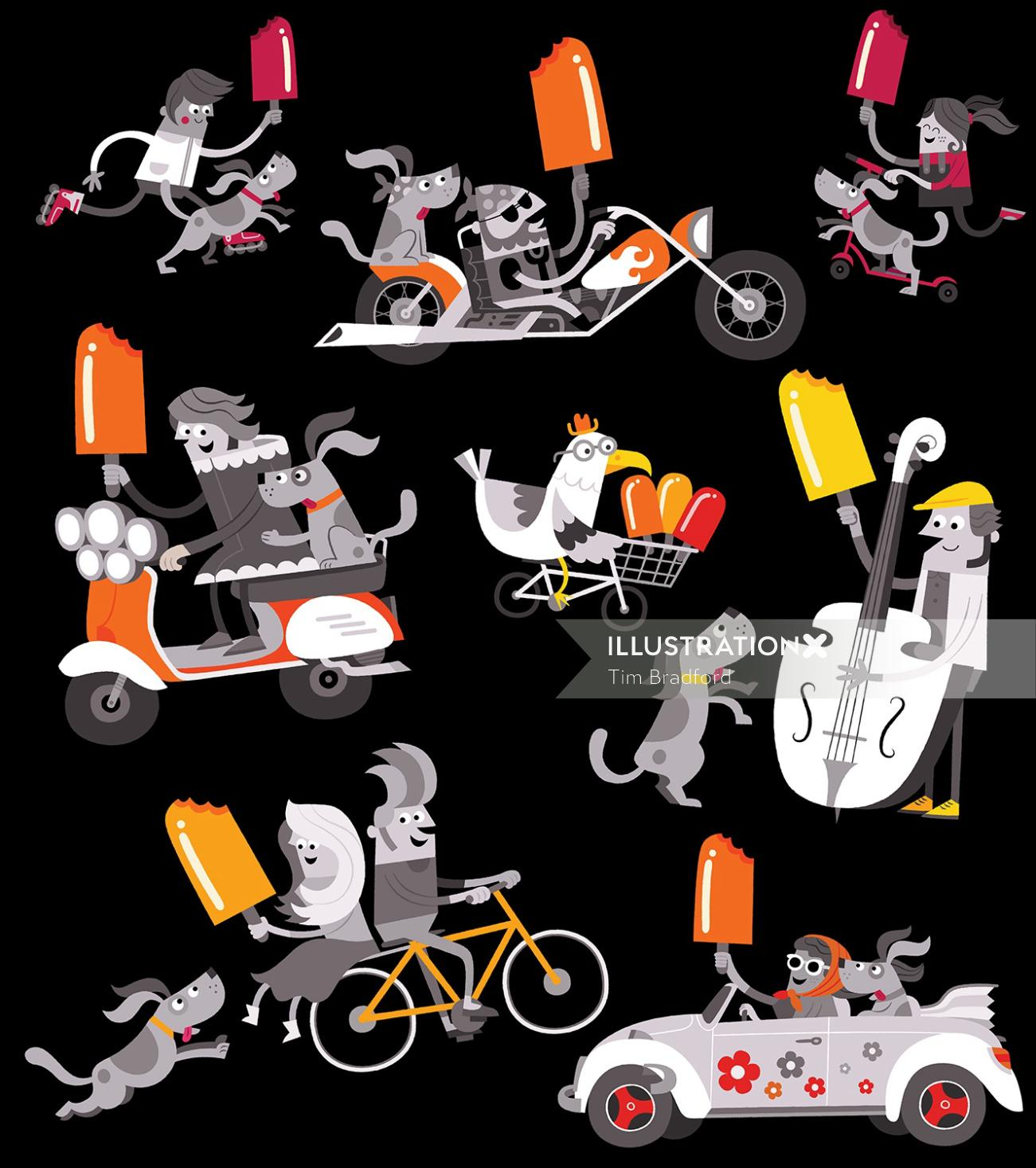 Vector illustration of people on bike