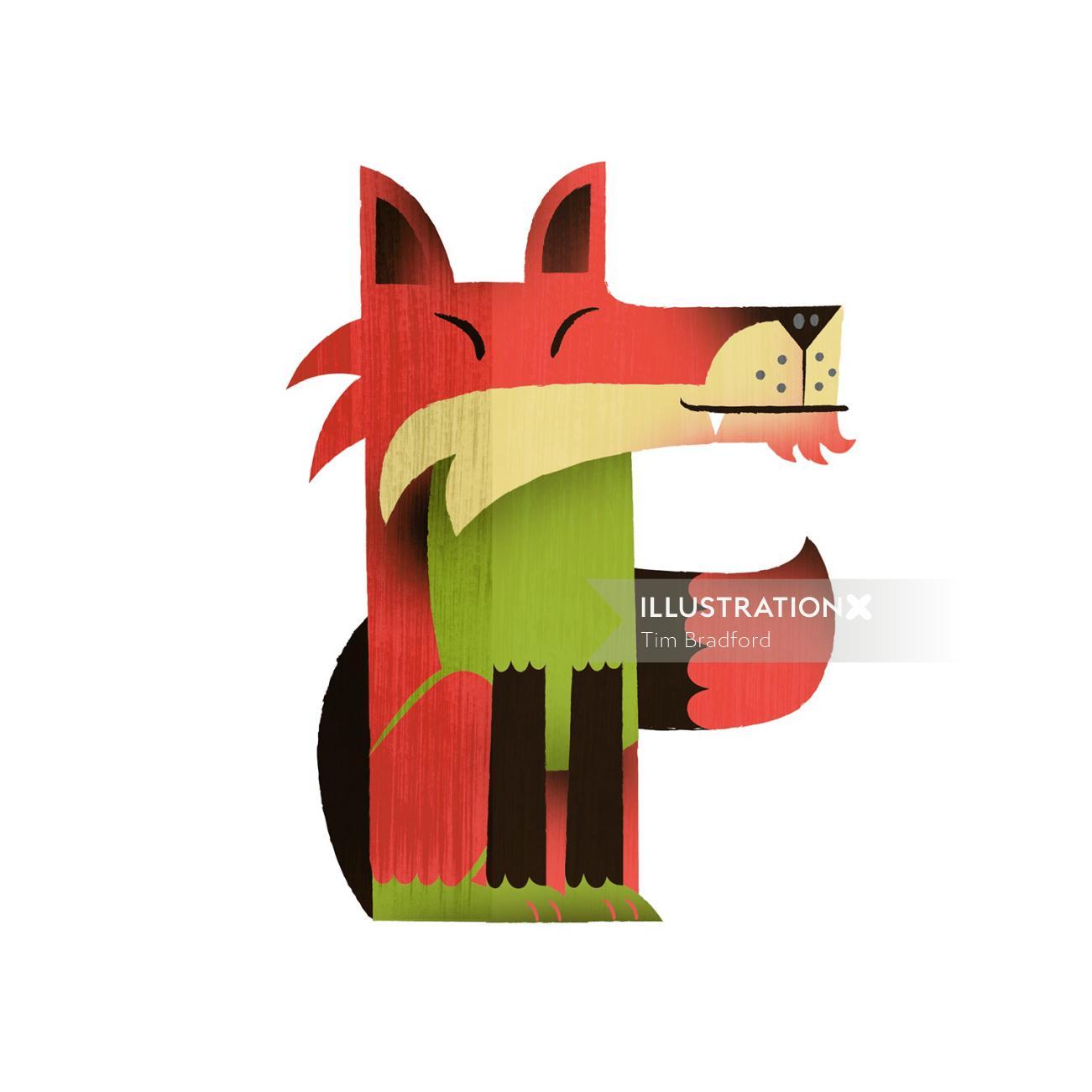 Graphic illustration of wild animal Red Fox