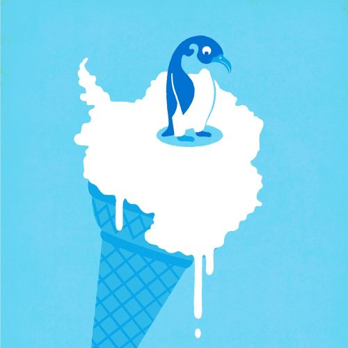 Illustration of a bird sitting on ice cream