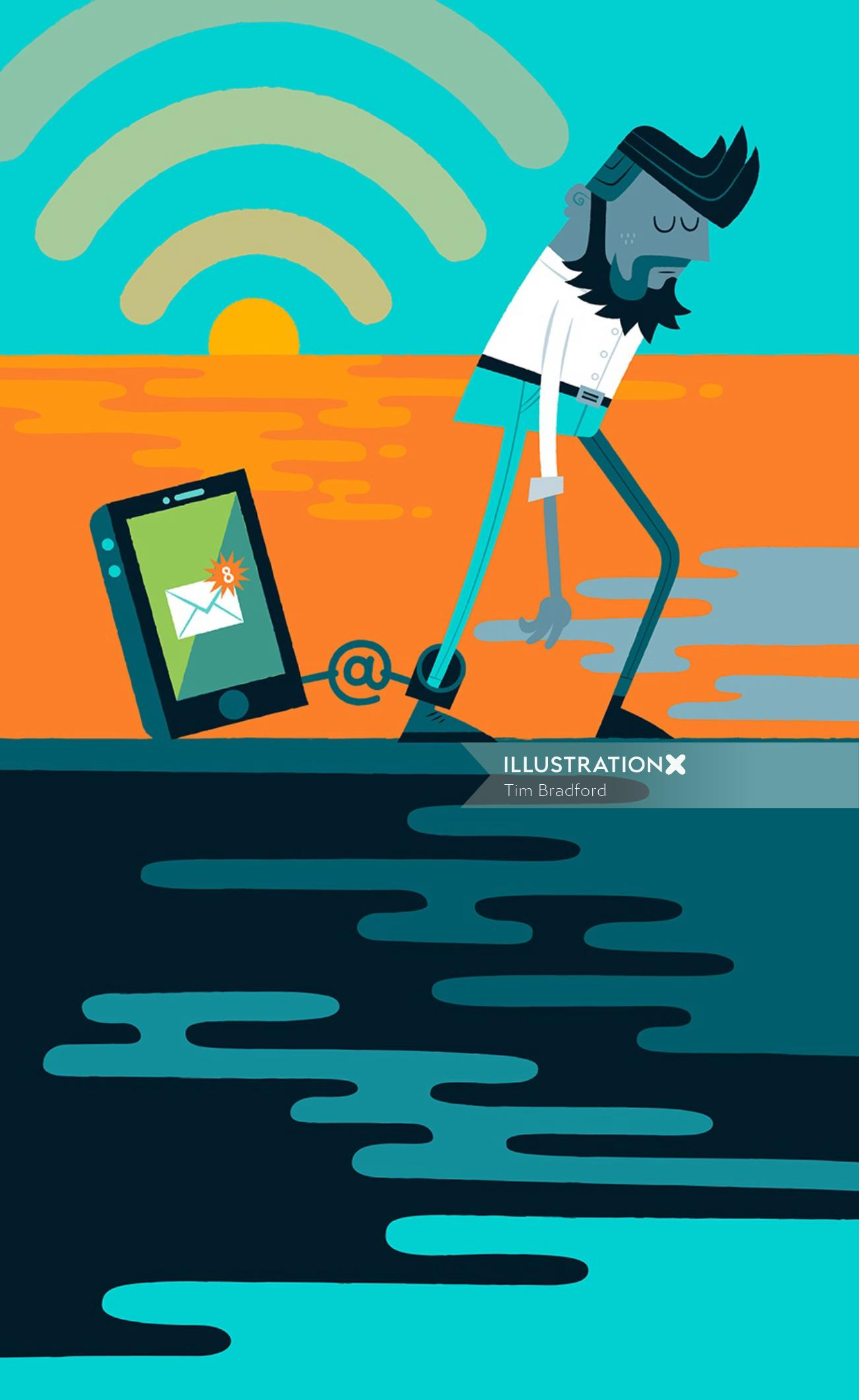 Conceptual illustration of man tied to mails