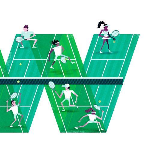 Graphic illustration of Wimbledon tennis