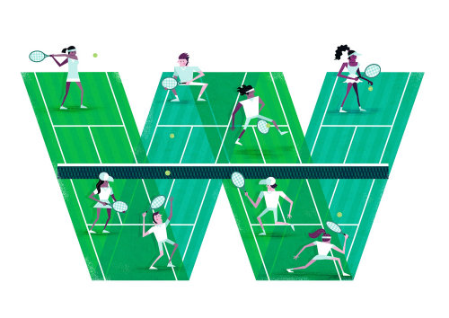 Graphic illustration of Wimbledon tennis