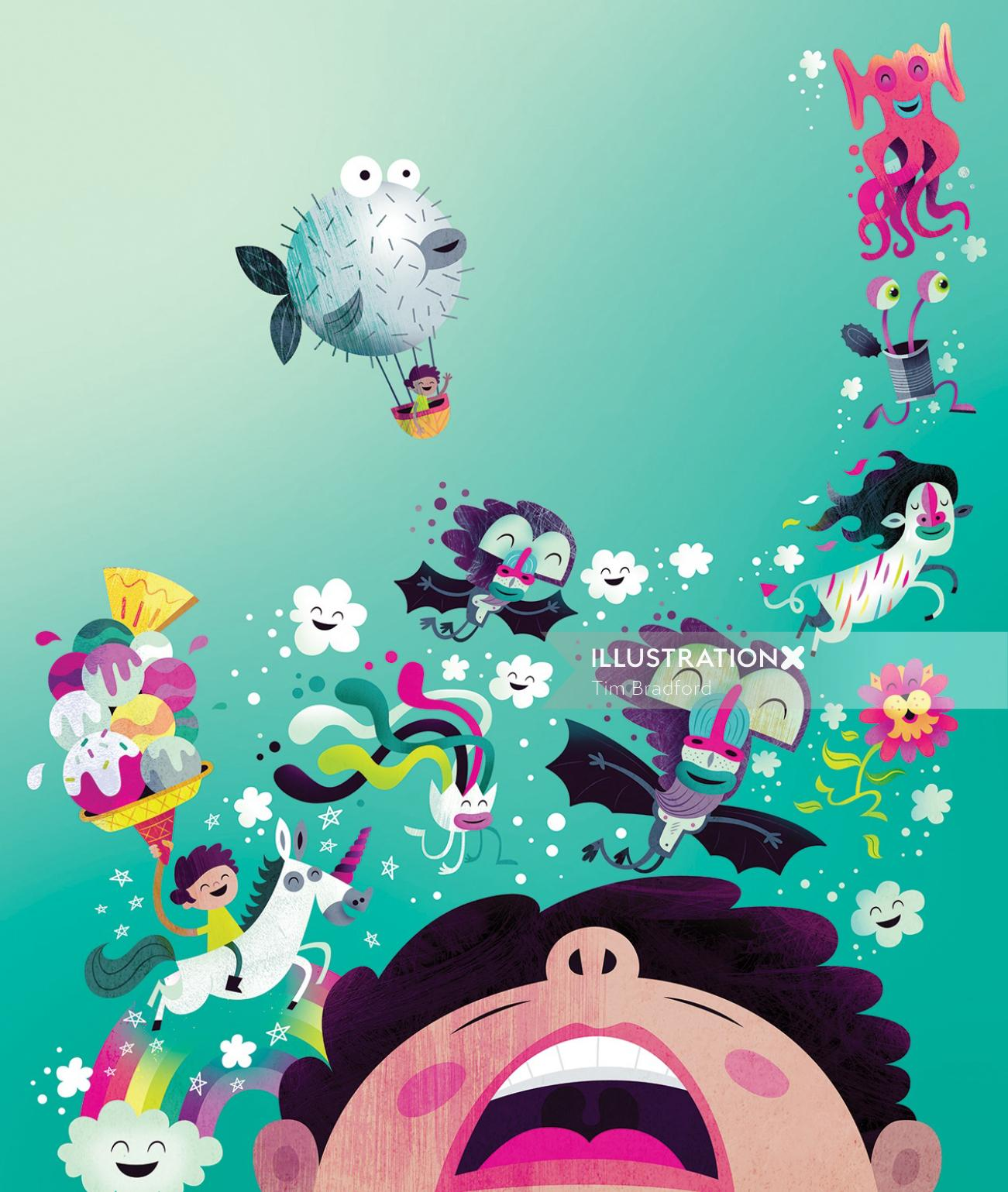 Illustration of characters in under water