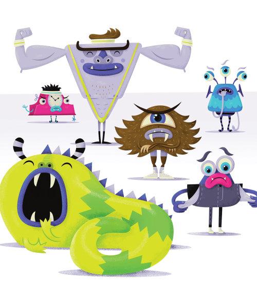 ilustração infantil de monstros