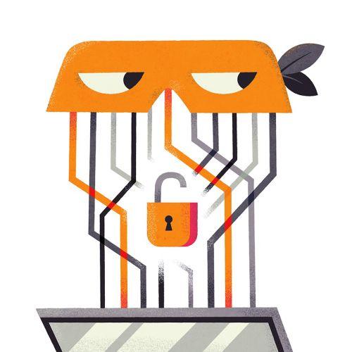 Business illustration of laptop unlock