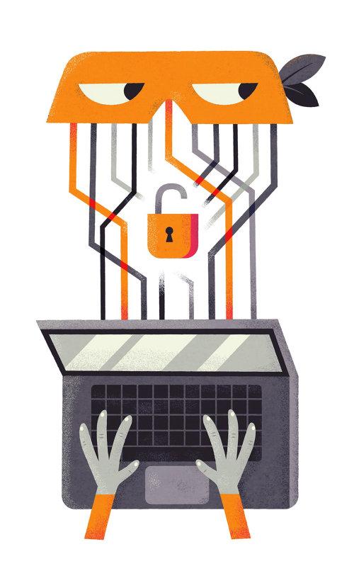 Ilustração de negócios de desbloqueio de laptop