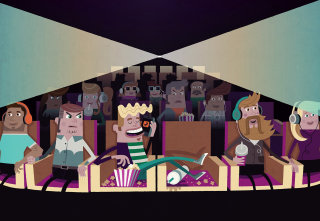 Characters in a cinema hall