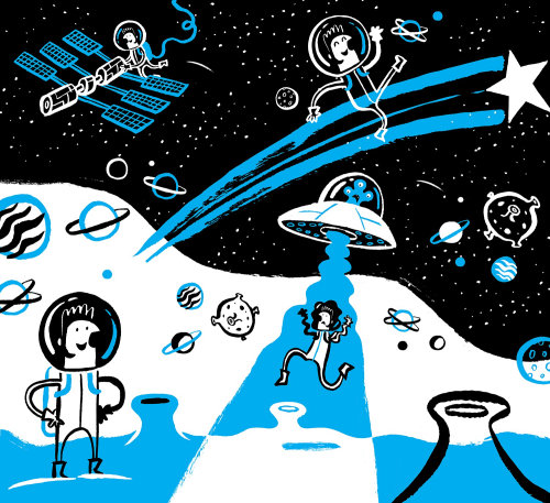 Illustration of character in space
