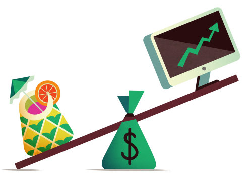 Business illustration of dollars and monitor