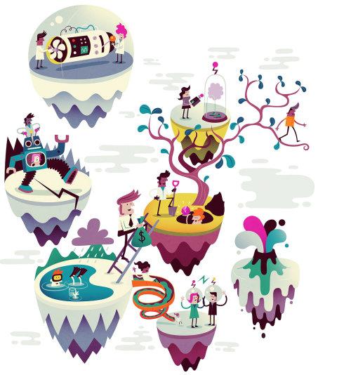 Ilustração de personagens na árvore