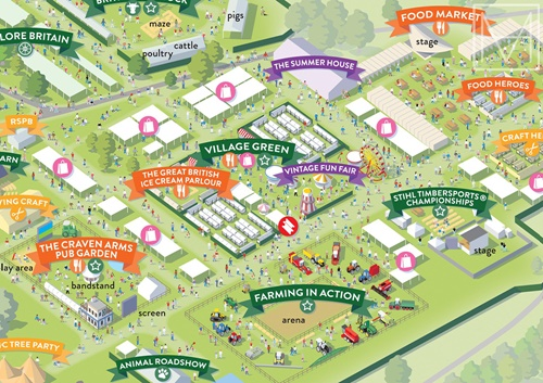 Map illustration of the Countryfile Festival