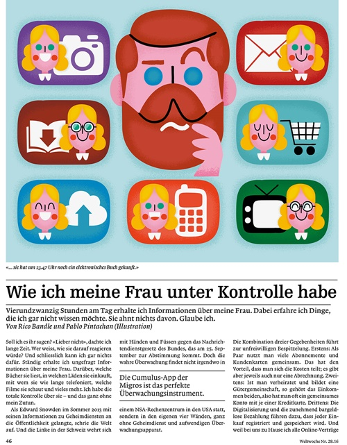 An illustration for Die Weltwoche Magazine