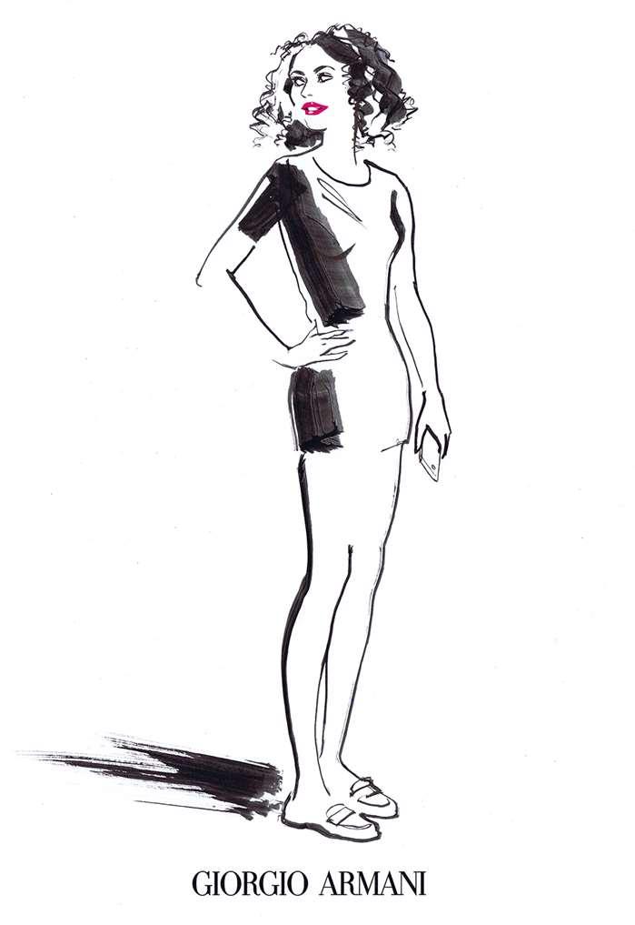 Jacqueline Bissett draws for Armani