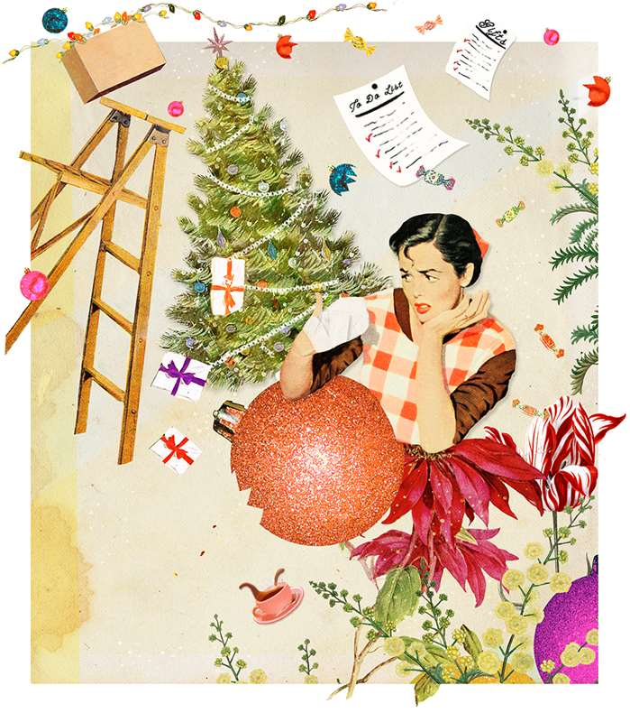 A mixed media style seasonal spread by Heather Landis