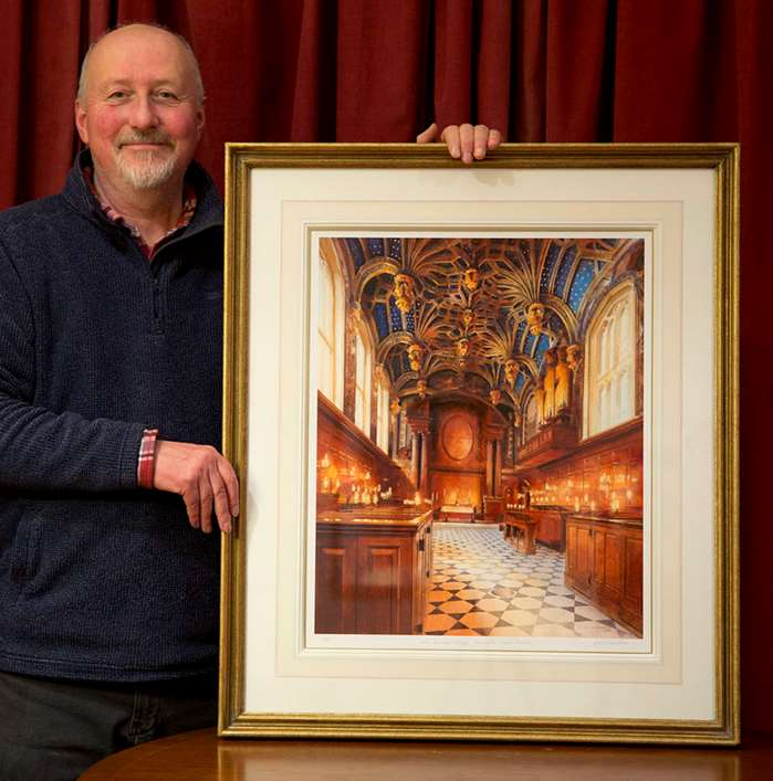 A watercolour of the Chapel Royal at Hampton Court Palace by John Walsom