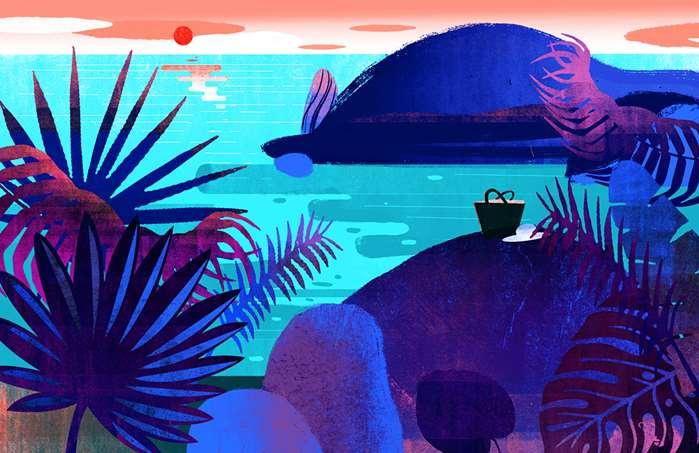 Desert Island Make-Up: Serene blue seascape art by Decue Wu