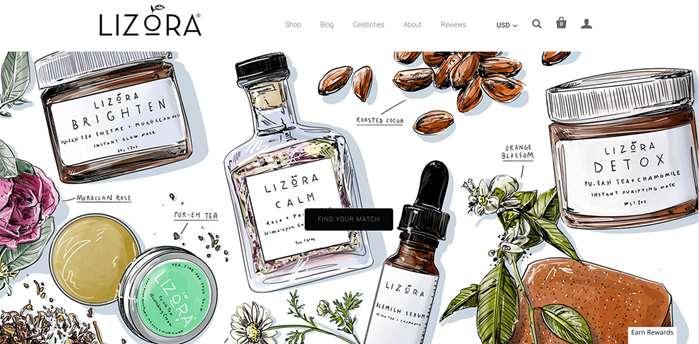 Illustration for Lizora Skincare products