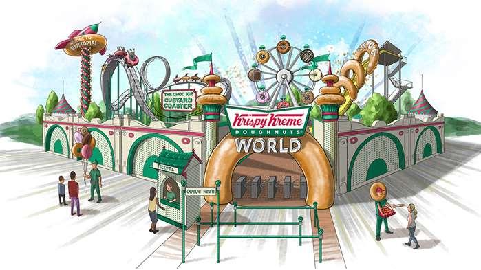 Illustration for entrance to a 'doughnutting' adventure park for Krispy Kreme Australia.