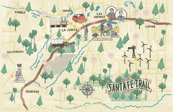 A delightful map illustrated by James Grover for Denver city's