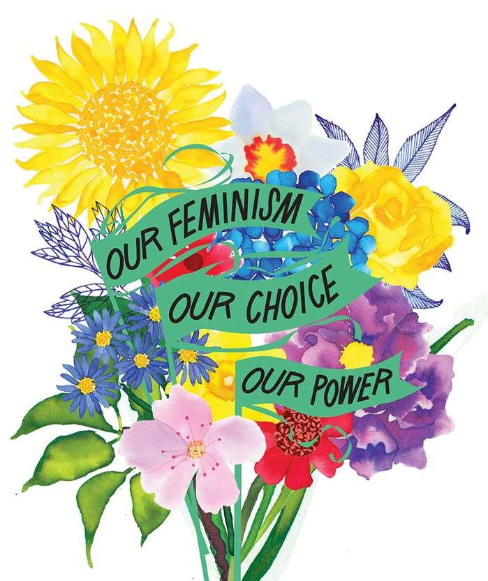 Feminism - Jennifer Maravillas creates striking illustrations for this months Harpers Bazaar JP
